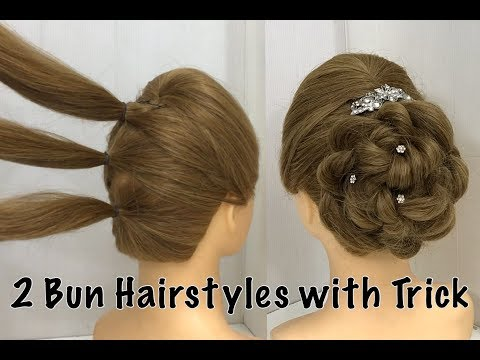 Xxx Mp4 2 Easy Bun Hairstyles With Trick For Wedding Amp Party Prom Updo Hairstyle 3gp Sex