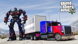 GTA 5 TRANSFORMERS MOD - I CRASHED INTO OPTIMUS PRIME!  - HD 60FPS