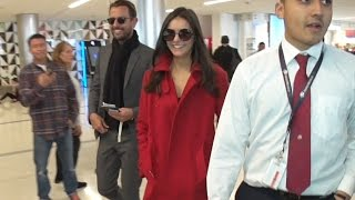 Nina Dobrev Is The Lady In Red Arriving At LAX
