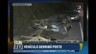 Vehículo derribó un poste en ruta al Pacífico