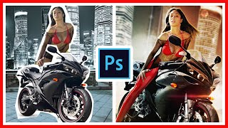 Bike girl | Photo Manipulation | (#Photoshop CS) | Time Lapse Video
