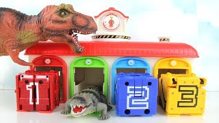 T Rex Dinosaur Attack Tayo Garage! Learn Dinosaurs for Kids. Fun Toy video. 타요 차고지 공룡 공격.