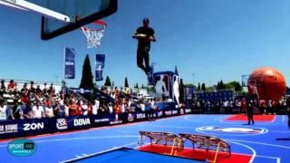 حرکات نمایشی دیوانه وار با توپ بسکتبال