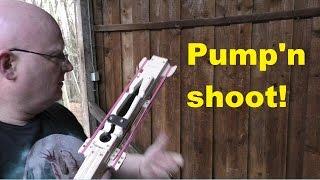 Pump Gun Slingshot, Shoots Throwing Knives!