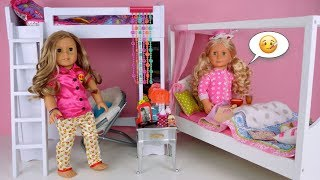 Doll Bunk Bed Pink Bedroom Morning Routine - Sick Day Fever - Play AG Doll Videos