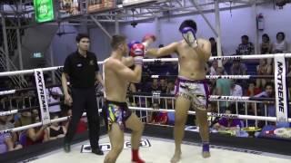 Chris (Sinbi Muay Thai- Red corner) fights at Bangla Stadium- 16.4.2017