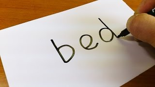 Very Easy ! How to turn words BED into a Cartoon for kids -  Drawing doodle art on paper