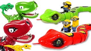 Super bad Minions tried to steal dinosaur eggs with Robo Alive Snake brothers! - DuDuPopTOY