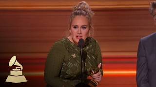 Adele Wins Record Of The Year   Acceptance Speech   59th GRAMMYs