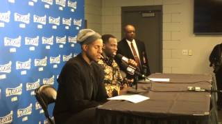 ANDRE IGUODALA and DRAYMOND GREEN, Golden State Warriors (3-0) postgame, Game 3 vs Blazers