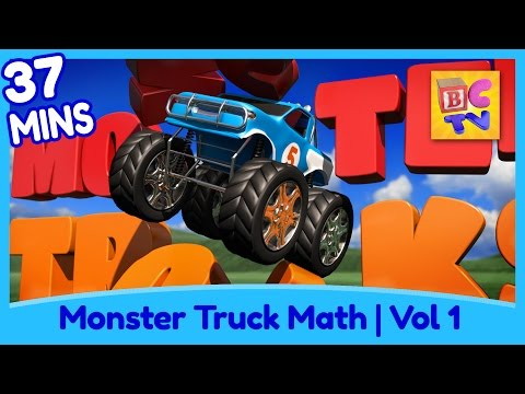 Learn Math and Counting Monster Trucks for Kids Compilation Vol 1