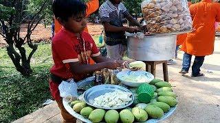 Small Boy Working Hard Selling Tasty Masala Mango Bengali Kacha Aam Vorta BD Food Dhaka