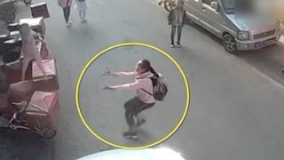 Viral video: Girl rushes to aid toddler in fall from third floor balcony