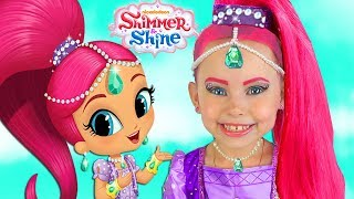 Shimmer and Shine Kids Makeup & Dresses & Surprise Toys For Kids Pretend Playing with Toys and Doll