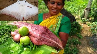 7 KG Stingray Fish Piece Cooking & Tasting In My Village - Grandmas Very Rare Fish Recipe