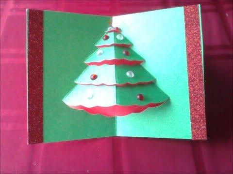 Easy Popup Christmas Tree Card (diff 2/10) (carte de Noël Weihnachtskarte tarjeta de Navidad)