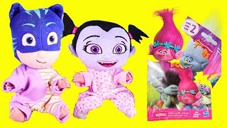 PJ Masks Catboy and Vampirina Are Good Babies and Get Surprise Toys | Trolls Holiday Blind Bags