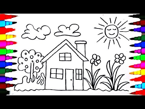 How To Draw Kids Playhouse - Learning Coloring Pages - Videos for Children - Learning Colors