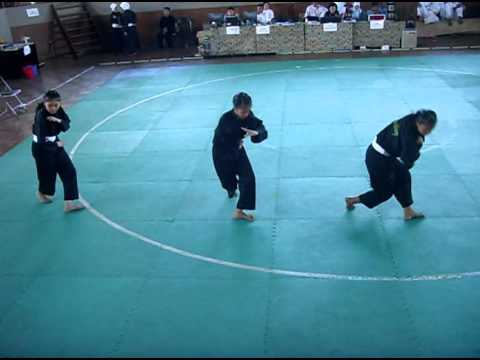 Performances Three beautiful girls demonstrating martial Mighty Movement Of West Java sumedang
