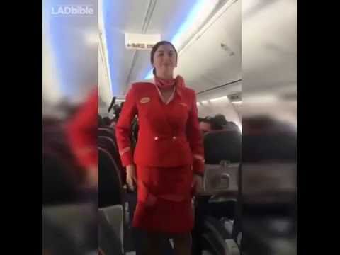 Xxx Mp4 Football Fans Distracting The Air Hostess During Safety Announcement Funny 3gp Sex