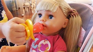 Baby doll Mornign routine, toys for Kids how to pretend play, baby born chair, nursery rhyme song