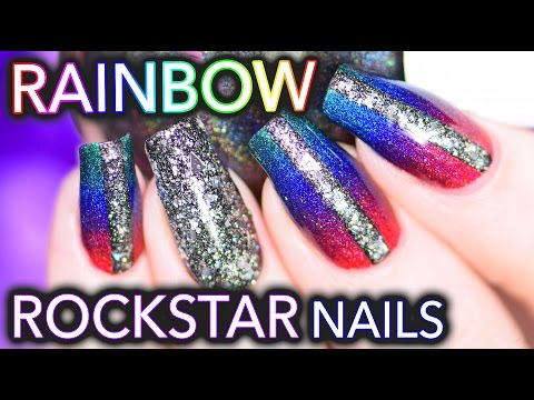 Rainbow Rockstar nails using SuperChic Lacquer holos