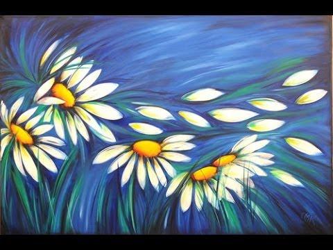 Como pintar con acrilicos Cuadro de Margaritas Claudia Kunze