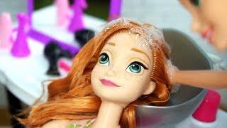 Rapunzel Barbie Beauty Salon Makeover Hair Style on Frozen Anna & Disney Princess Dolls