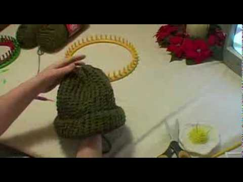 Knitting an Adult Hat on Round Loom Start to Finish
