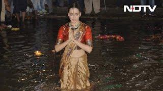 Kangana Ranaut Takes Dip In The Ganga, Performs Aarti In Varanasi