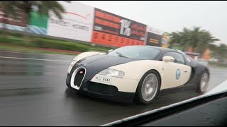 Racing a Bugatti in the Rain !!!