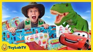 GIANT SURPRISE TOYS FOR T-REX! Dinosaur Toy Hunt Disney Cars 3 Movie Lightning McQueen Kids Unboxing