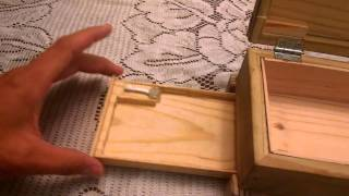 Wooden box with secret compartment