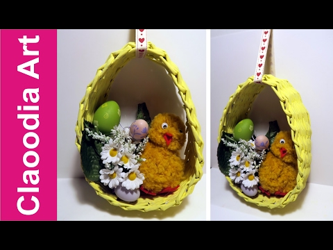 Easter egg with a paper wicker DIY