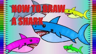 How to Draw A Shark Drawing|Animals|Fun Colour Art