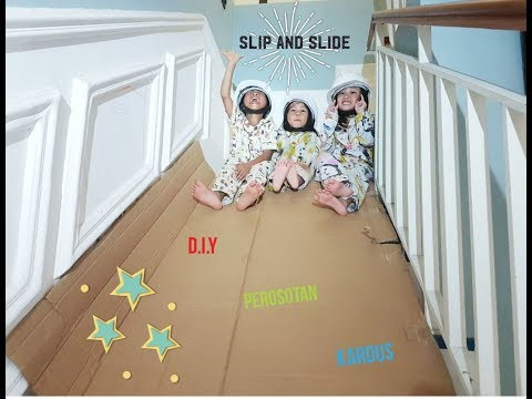 Kids Playground Indoor DIY Slip and Slide from Cardboard | Mainan Perosotan kardus