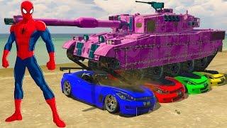 Spiderman Smash Supercars Colors on Big Tank Fun Video For Kids Nursery Rhymes