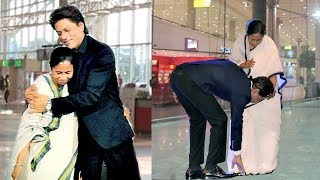 Shahrukh Khan Shows Respect To Mamata Banerjee By Touching Her FEET In Public