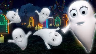Five Little Ghosts | Halloween Music for Children | Kids Songs and Cartoons by Little Treehouse