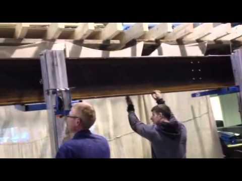 Lifting #RSJ 800kg using #block and tackle #  genie lifts