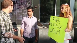 Girl gives free Testicular exams in Public for Charity