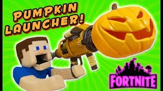 Fortnite REAL LIFE Pumpkin Launcher Weapon Glitch ATTACK!! PUPPET STEVE DESTROYS EVERYONE!