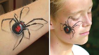 """Maquillage araignée """"Veuve Noire"""" en 3D (bras ou visage) - Tutoriel de maquillage Halloween"""