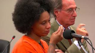 Beverly Burrell delivers a statement and is sentenced.