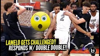 LaMelo Ball GETS CHALLENGED & Responds w/ SAUCY DOUBLE DOUBLE at Drew League!! vs D1 Guards!