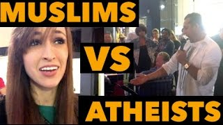 Muslims vs Atheists (Street Debate)