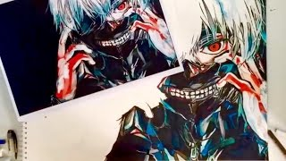 Drawing Kaneki Ken | Colour Pencils