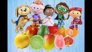 Super Why All Fruits Guava,Lemon,Mango,,Fig,Peach,Mandarin and Pear Finger Family Fruits