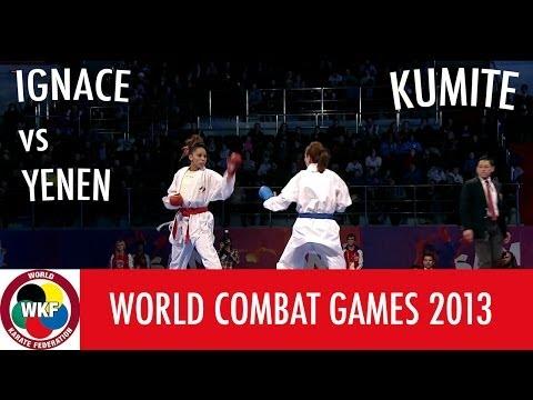 World Combat Games 2013. IGNACE vs YENEN. Karate Women's Kumite -55kg. Bronze Medal Fight