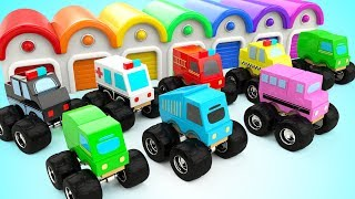 Learning Street Vehicles Names and Sounds 3D Kids Learning Wooden Truck Toys Parking Education Video
